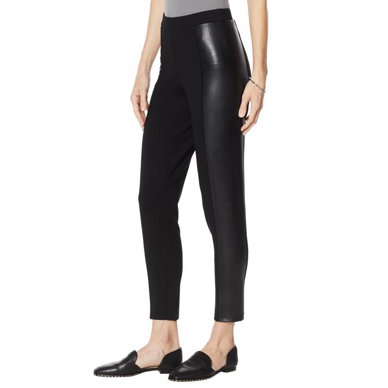 """""""As Is"""" Colleen Lopez Ponte Slim Pant with Faux Leather Panels"""