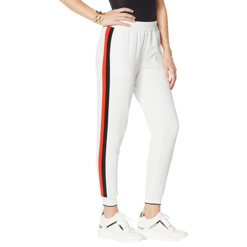 """""""As Is"""" IMAN Global Chic Smocked Waist Side Stripe Jogger Pant"""