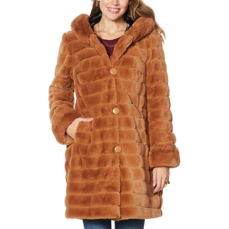 """As Is"" Laurier Reversible Faux Fur Coat"
