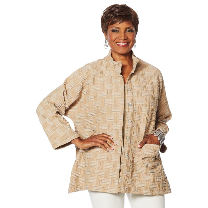 """""""As Is"""" MarlaWynne Basket Weave Topper with Patch Pocket"""