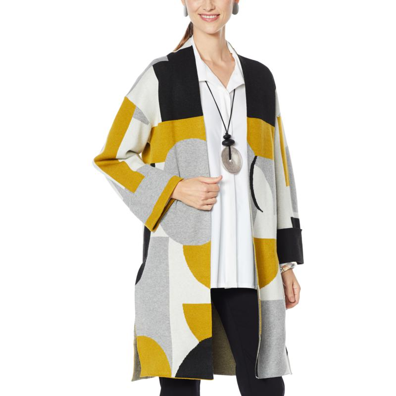 """""""As Is"""" MarlaWynne Geometric Colorblocked Jacquard Topper"""