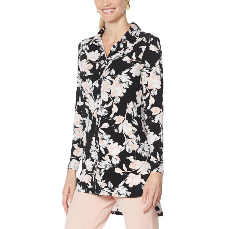 """As Is"" Nina Leonard Printed Matte Jersey Button-Down Tunic"