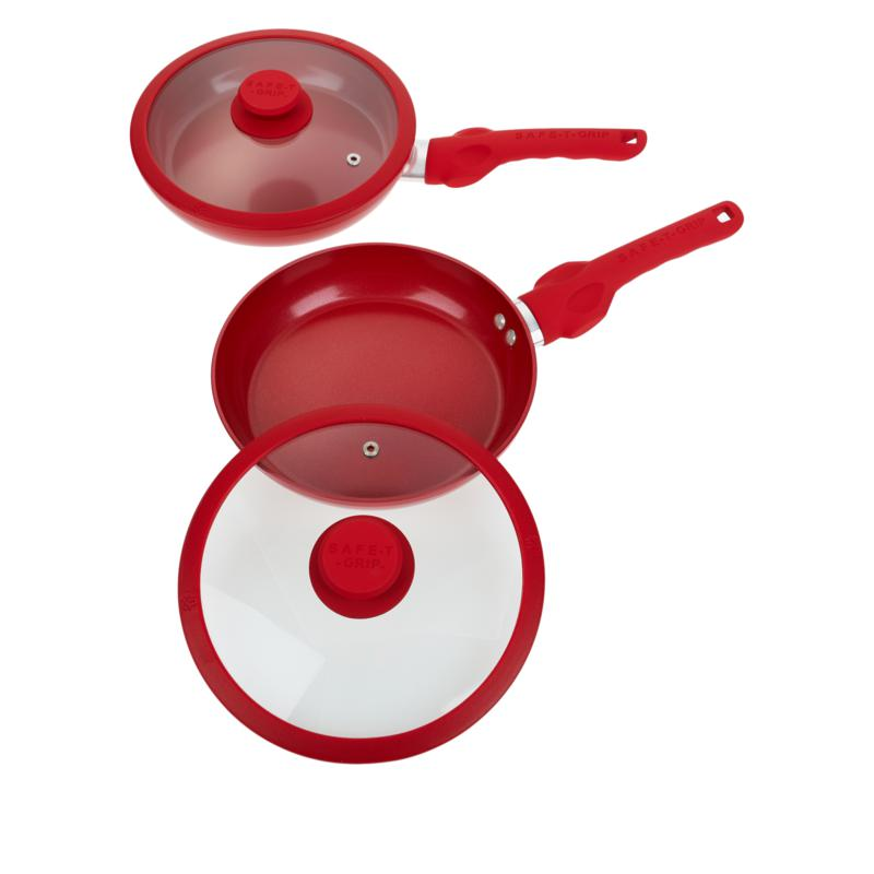 """As Is"" Safe-T-Grip 2-pack 9"" Fry Pan Set with Lids"