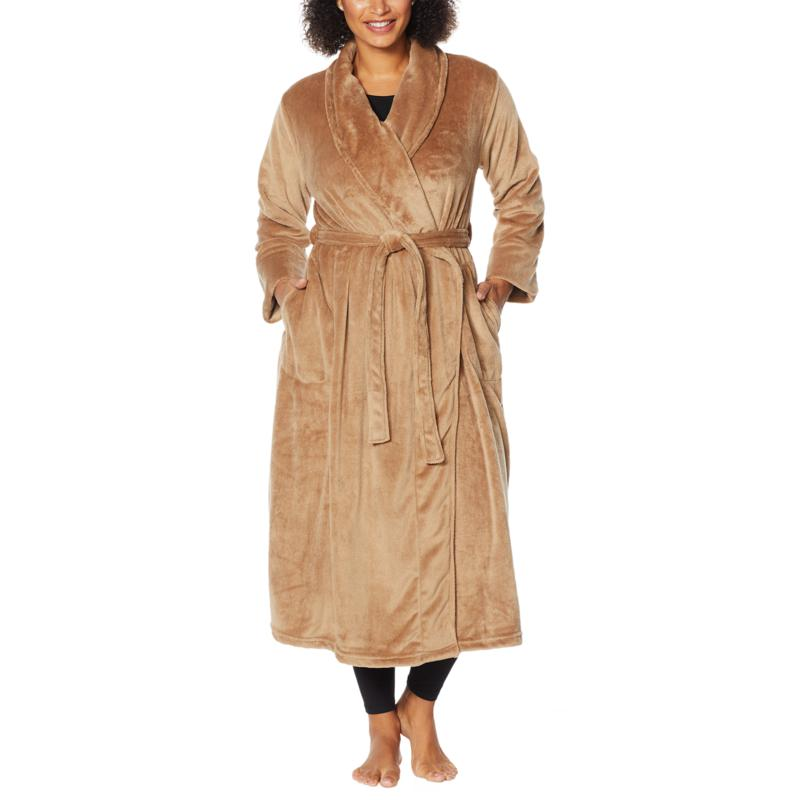 """""""As Is"""" Warm & Cozy Plush Tie-Front Robe with Pockets"""
