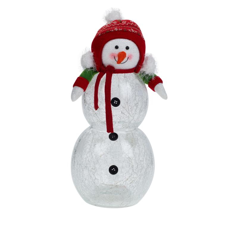 """""""As Is"""" Winter Lane Glass LED Snowman with Timer"""