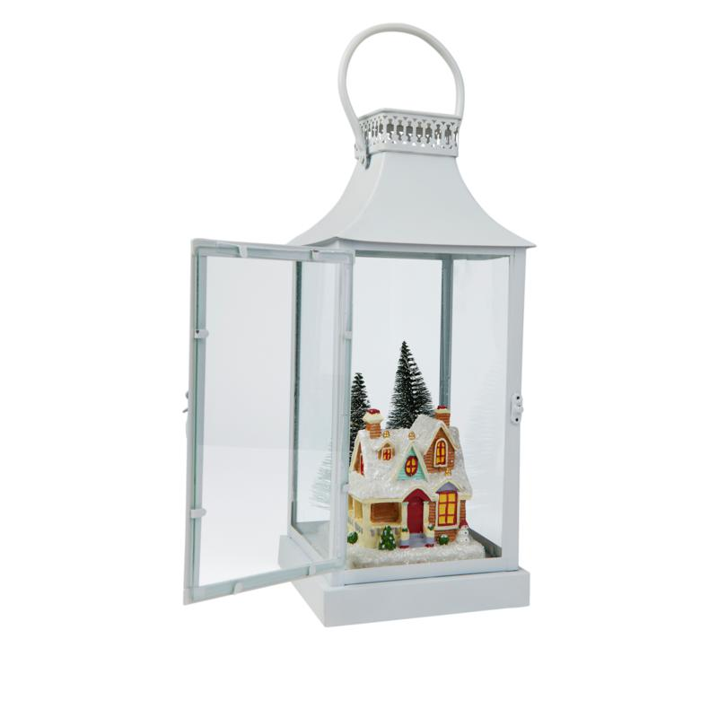 """As Is"" Winter Lane LED Holiday Lantern with Scenes and Timer"