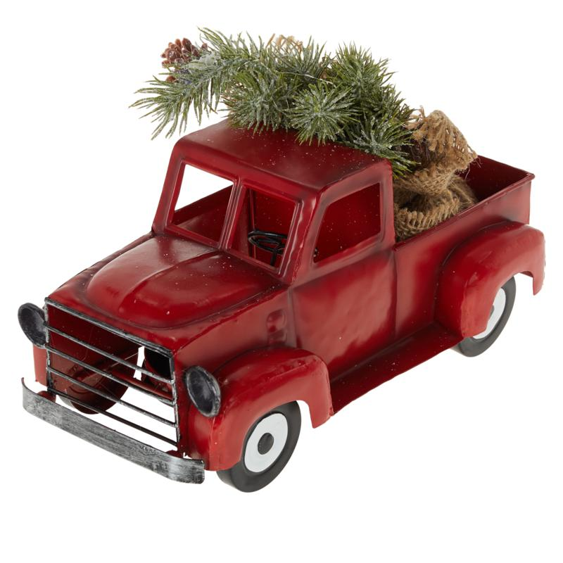 """""""As Is"""" Winter Lane Vintage Pick-Up Truck with Tree, Lights and Timer"""