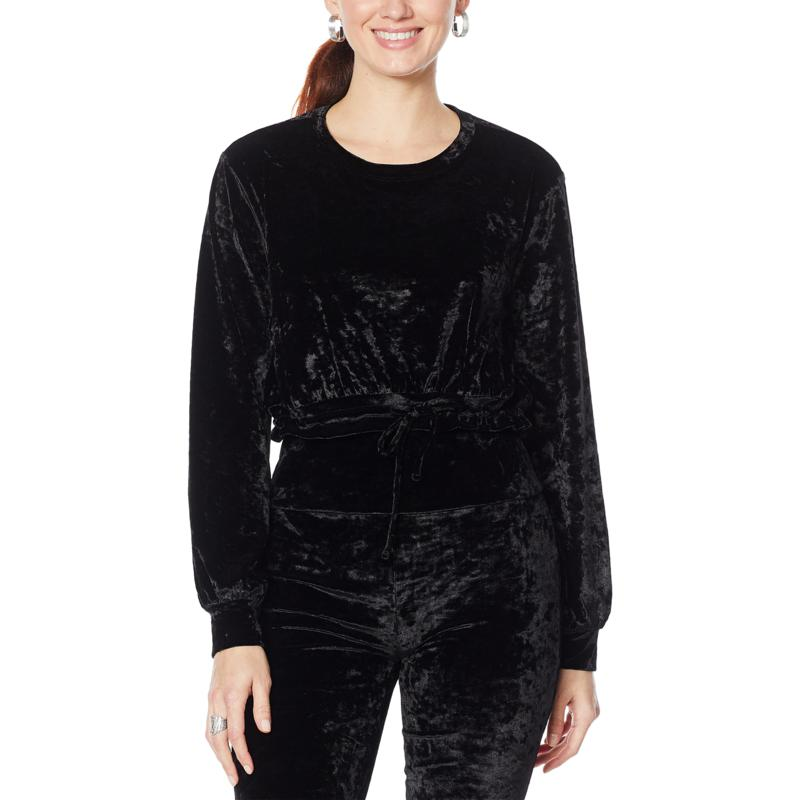 """""""As Is"""" WVVY Velour Bubble-Sleeve Crop Top with Tie"""