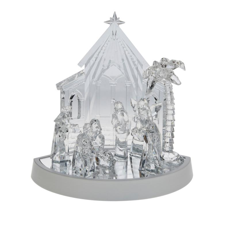 August & Leo Battery-Operated Clear Acrylic Nativity Scene with Timer