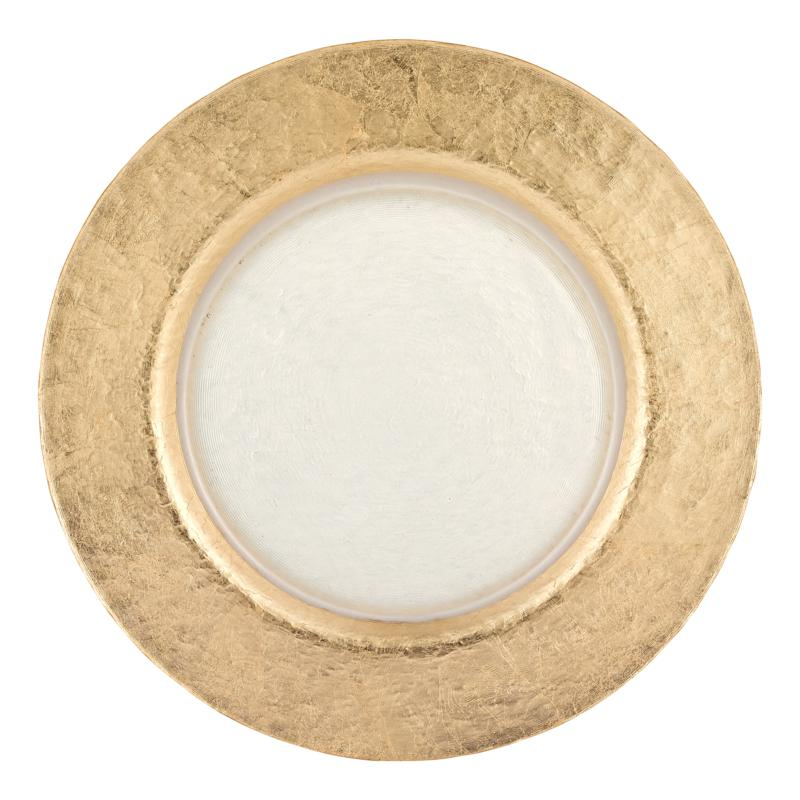 """Badash Authentic Gold Leaf Round 13"""" Glass Charger Plate"""