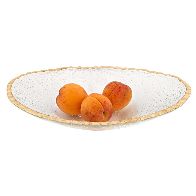 """Badash Hand Decorated Gold Leaf Edge Oval 12"""" x 8"""" Glass Serving Bowl"""