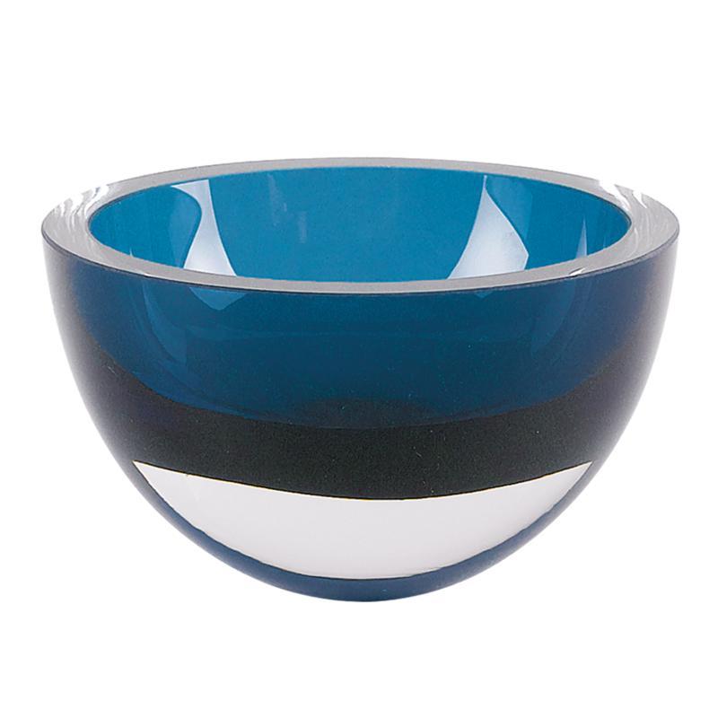 "Badash Penelope Peacock Blue Mouth-Blown Lead-Free Crystal 6"" Bowl"