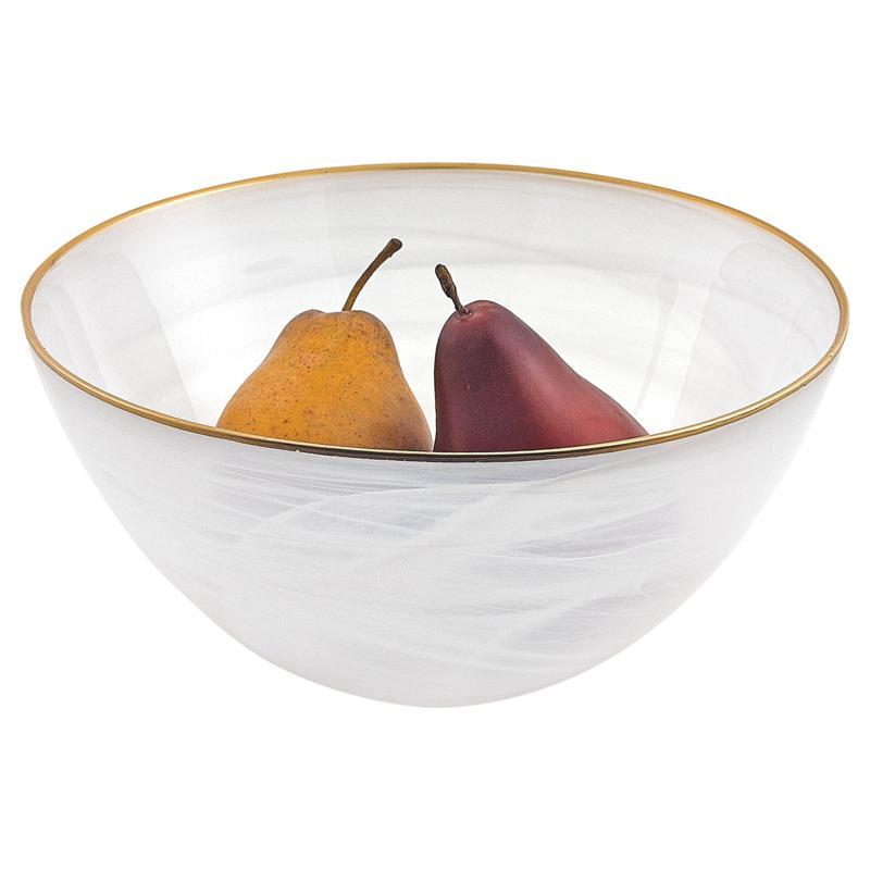 "Badash White Alabaster 10"" Glass Fruit or Salad Bowl With Gold Rim"