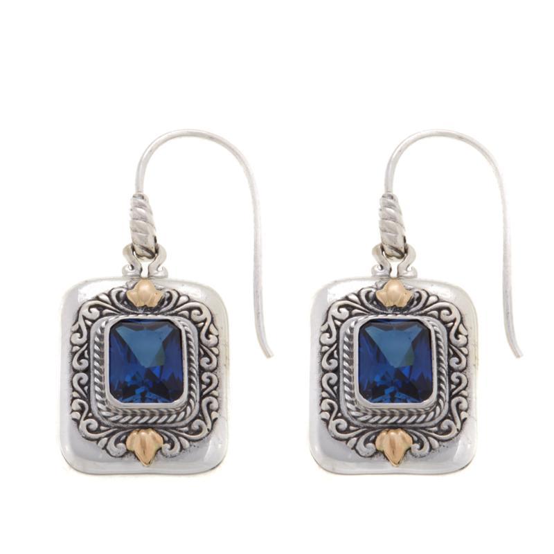 Bali RoManse 5ctw Created Blue Sapphire Drop Earrings