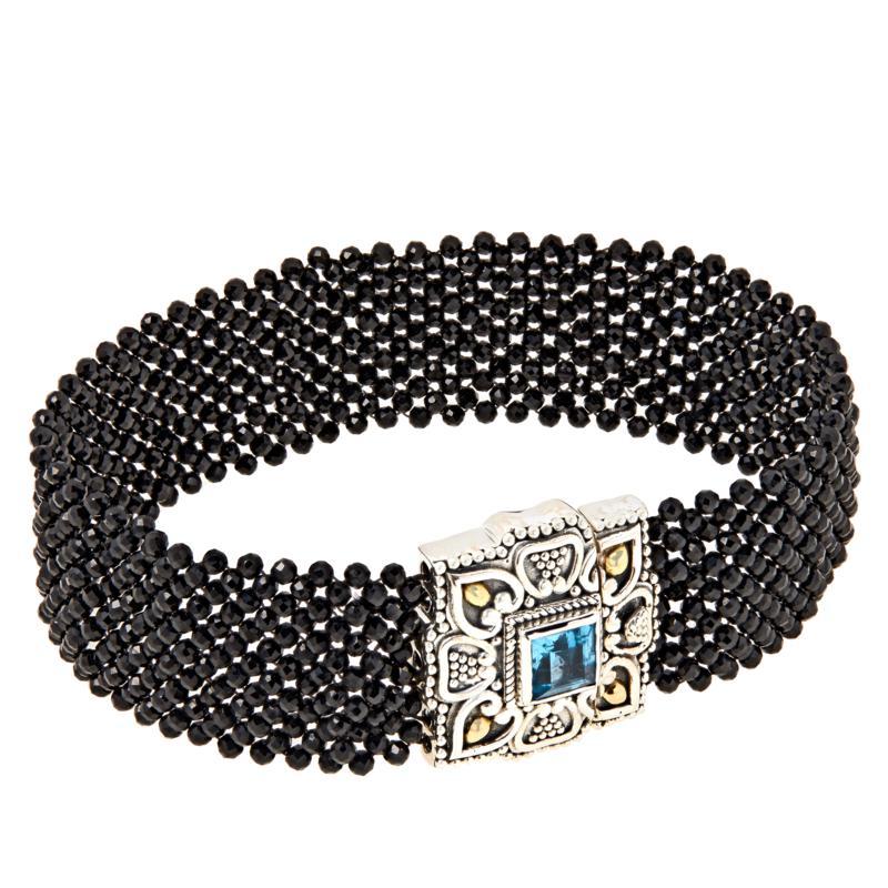Bali RoManse Blue Topaz and Black Spinel Woven Bracelet