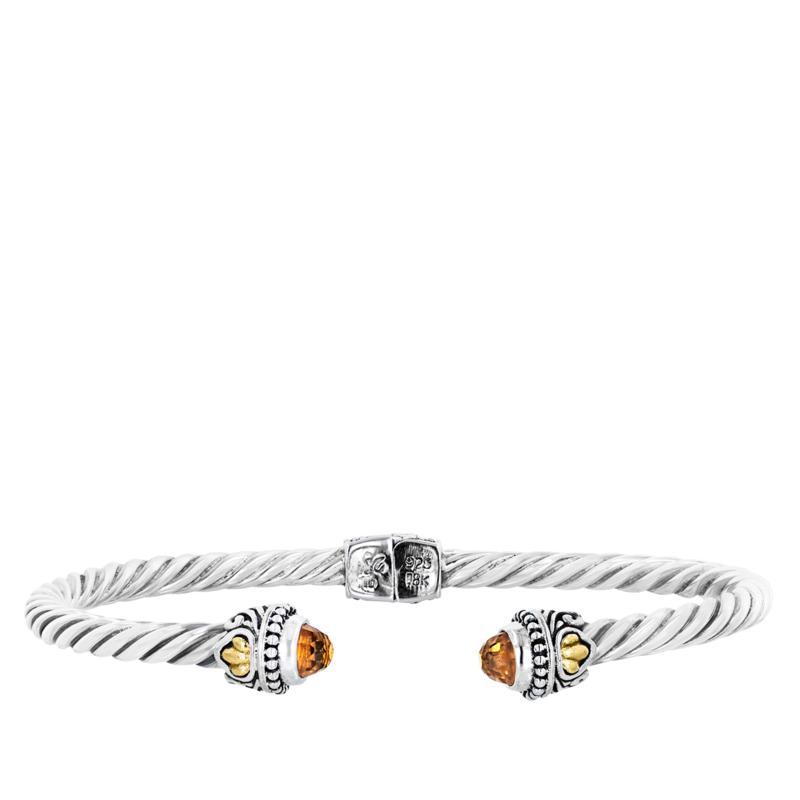 Bali RoManse Gemstone Hinged Cable Cuff Bracelet