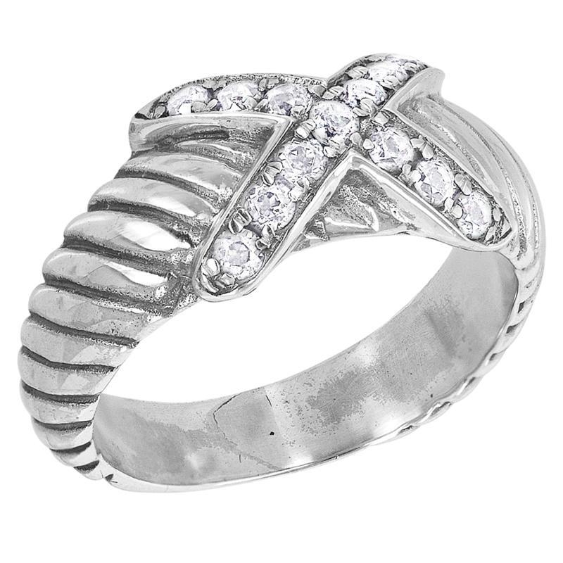 Bali RoManse Pavé Gemstone X-Design Cable Ring