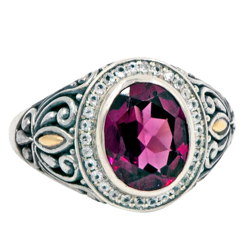 Bali RoManse Rhodolite and White Topaz Scrollwork Ring