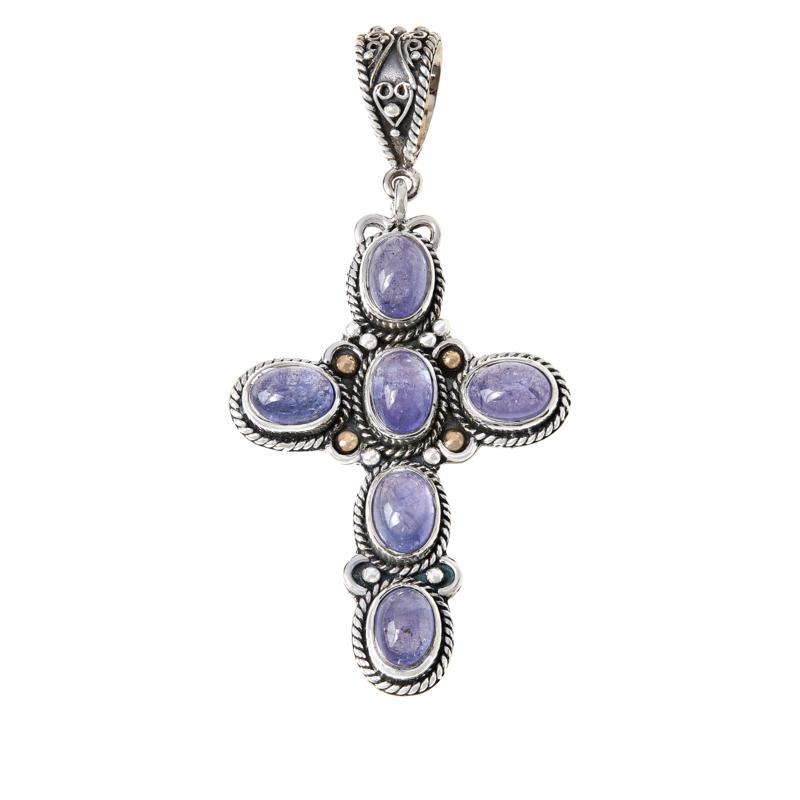 Bali RoManse Sterling Silver and 18K Gemstone Cross Pendant