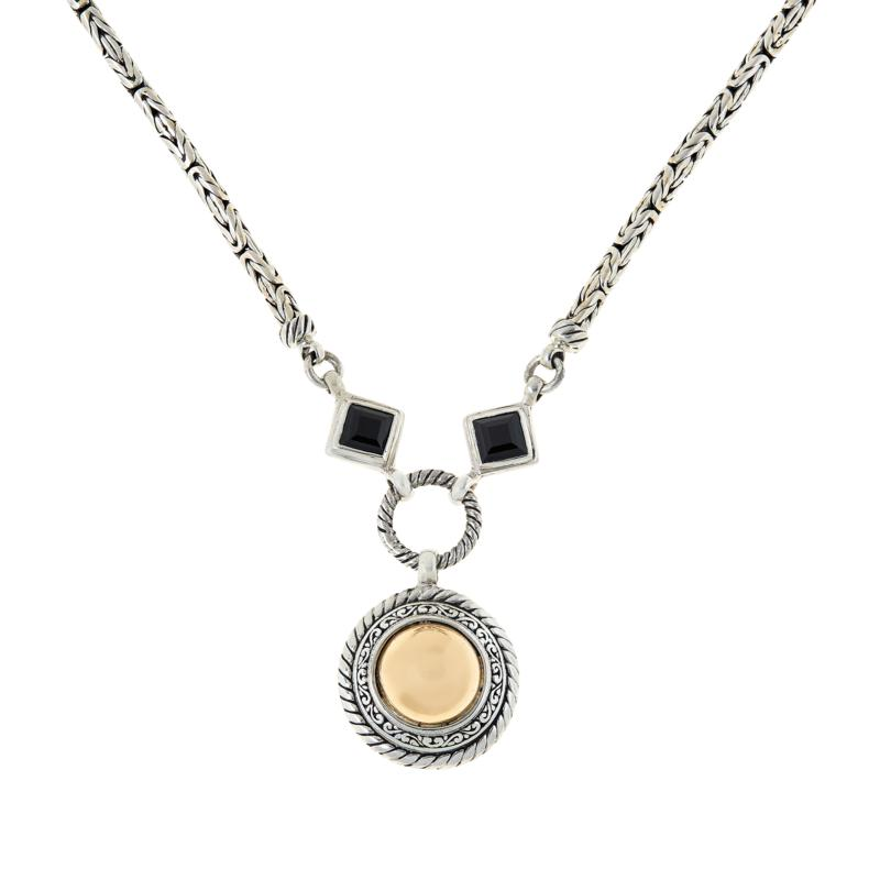 Bali RoManse Sterling Silver and 18K Gemstone Dome Drop Necklace