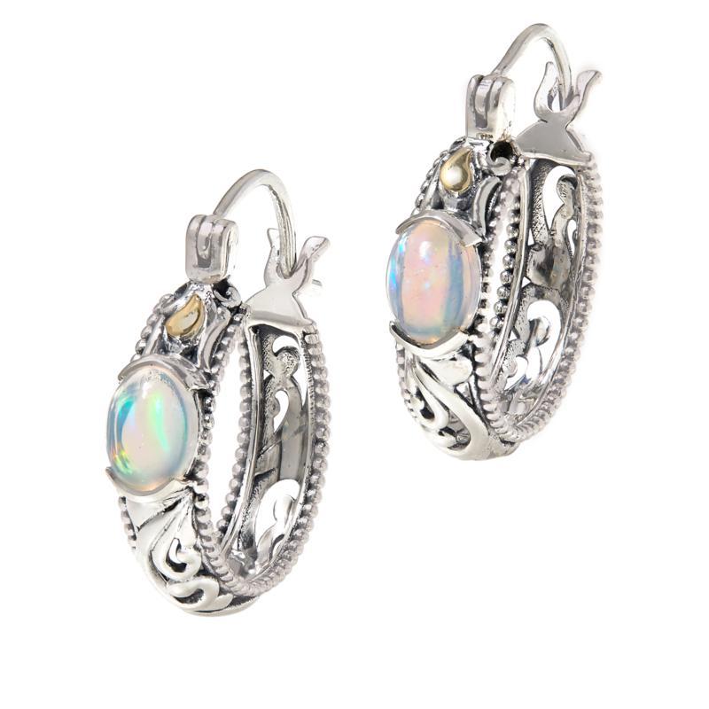 Bali RoManse Sterling Silver and 18K Opal Scroll Hoop Earrings