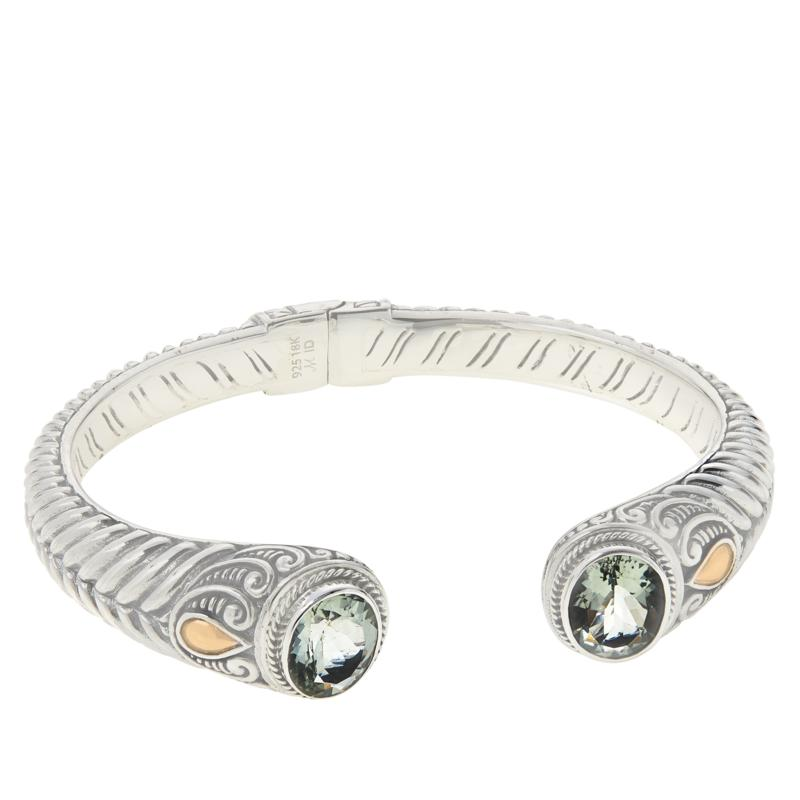 Bali RoManse Sterling Silver and 18K Oval Gemstone Hinged Cable Cuff