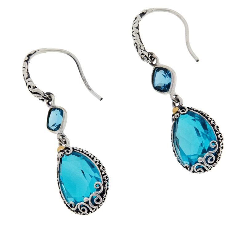 Bali RoManse Sterling Silver Double Gemstone Drop Earrings