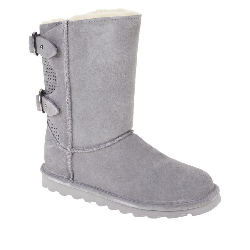 BEARPAW® Clara Suede Sheepskin Buckled Boot with NeverWet™