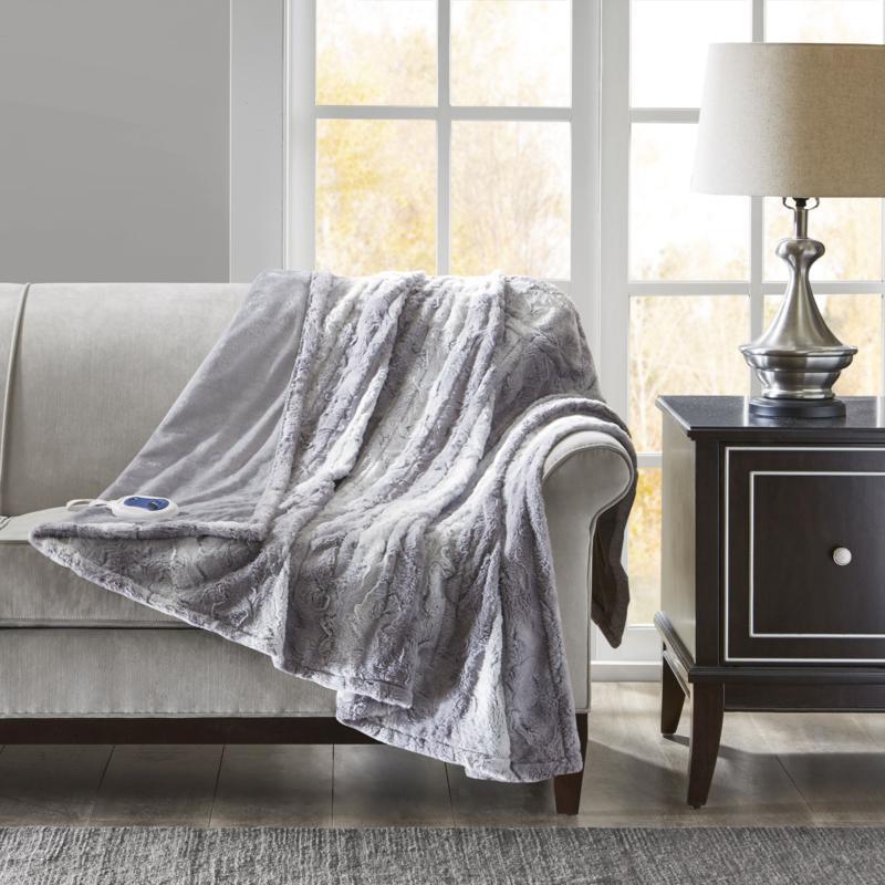 "Beautyrest Zuri Oversized Faux Fur Heated Throw Gray 50x70"""