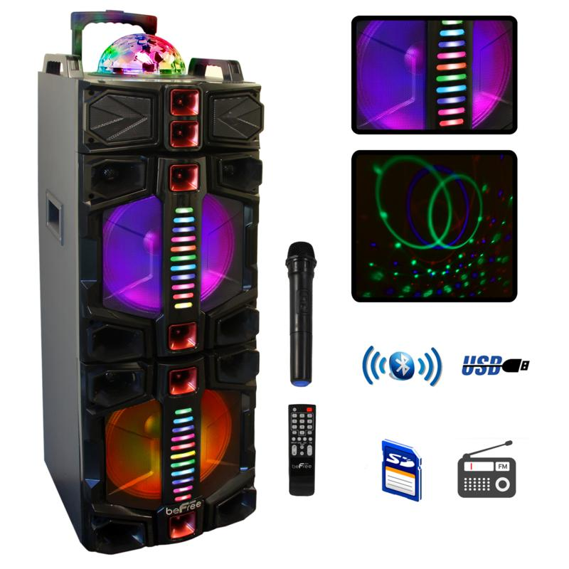 BeFree Sound Dual 12 Inch Subwoofer Bluetooth Portable Party Speaker