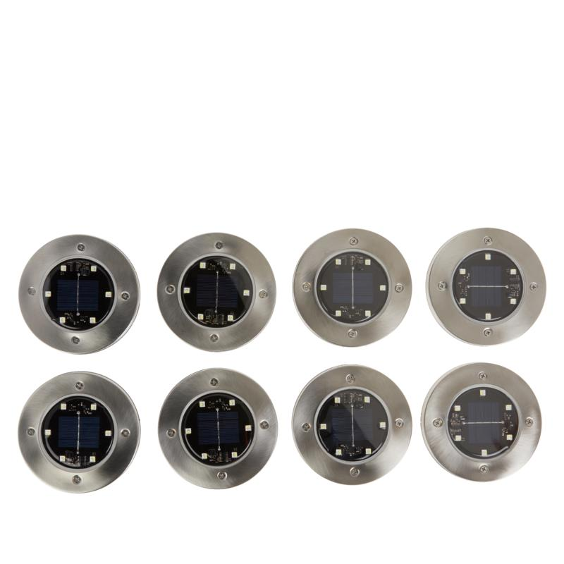 Bell + Howell Set of 8 Color-Changing Solar Disk Lights with Remote