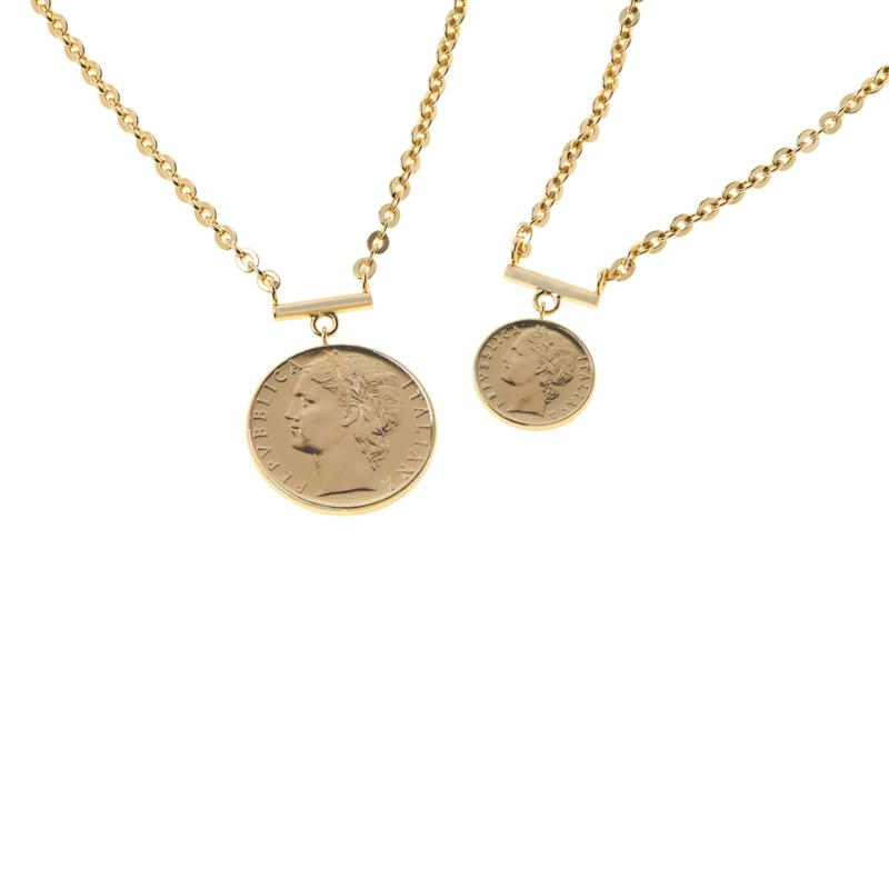 Bellezza 100 Lira Coin Bronze Drop Necklace 2-piece Set