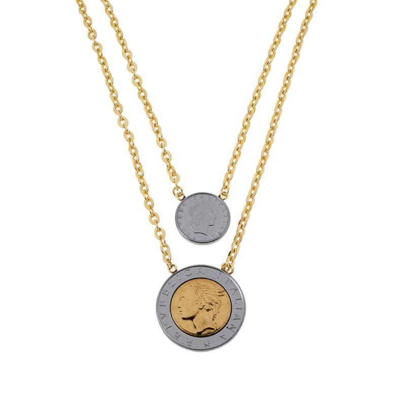 """Bellezza 18"""" Multi-Lira Coin Two-Strand Drop Necklace"""