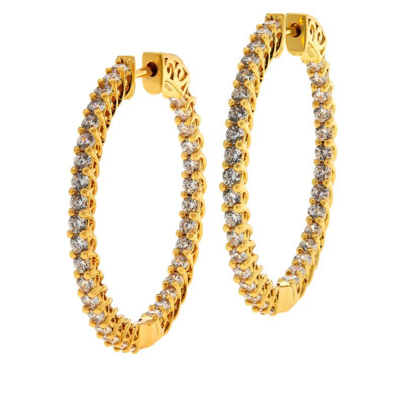 Bellezza Bronze Round Stone Inside-Outside Hoop Earrings