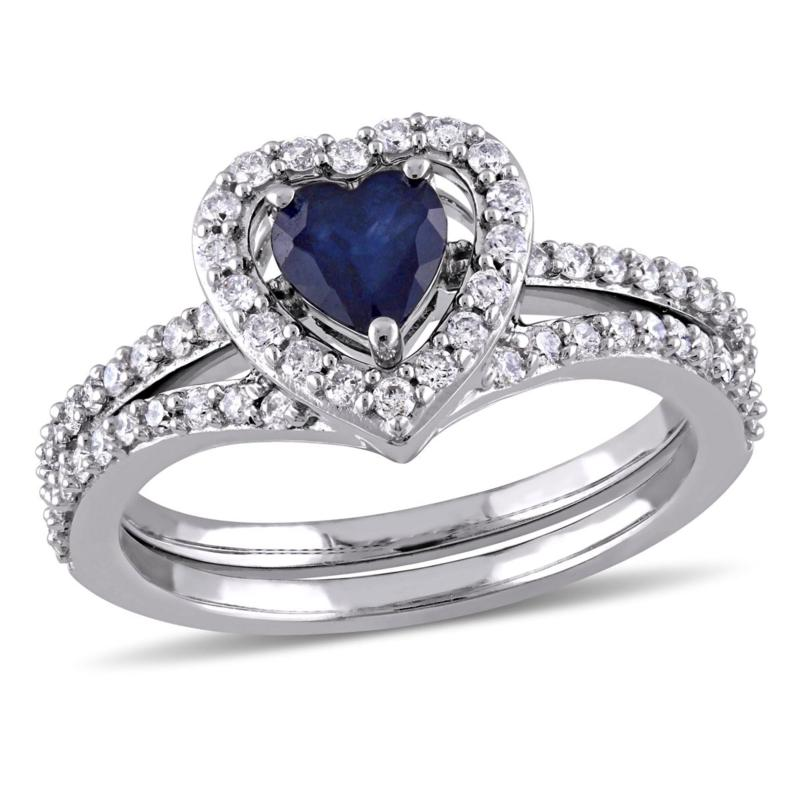 Bellini 10K White Gold Sapphire and Diamond Heart-Design 2pc Ring Set