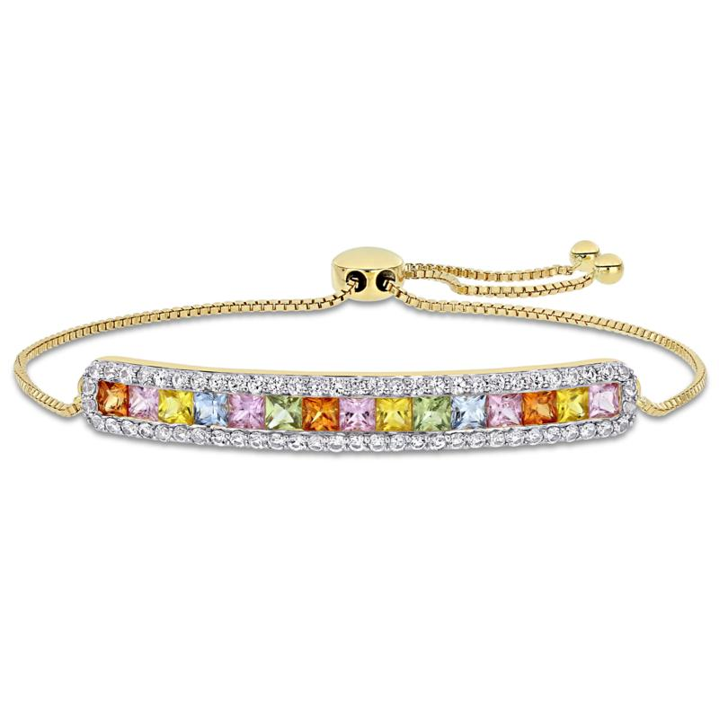 Bellini 14K Gold  Multi-Color Sapphire Bar Adjustable Bracelet