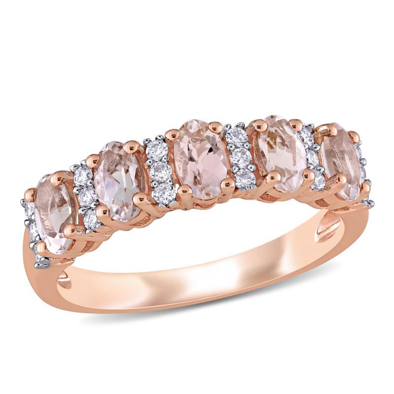 Bellini 14K Rose Gold Oval Morganite and Diamond Semi-Eternity Ring