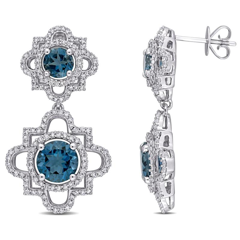 Bellini  14K White Gold London Blue Topaz and Diamond Drop Earrings