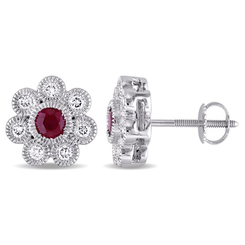 Bellini 14K White Gold Ruby and Diamond Flower Design Stud Earrings