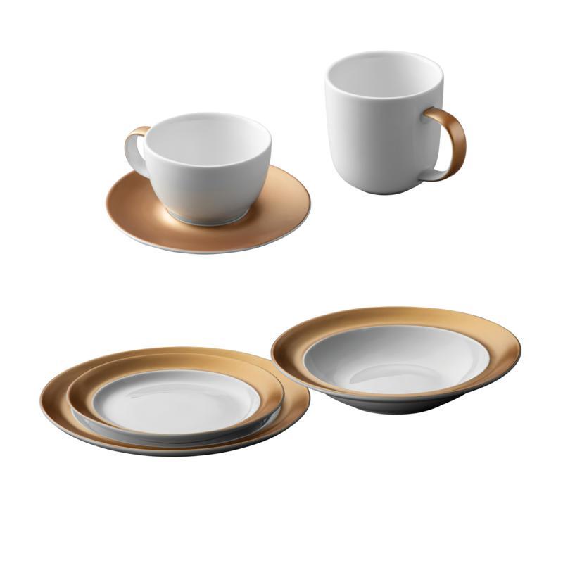 BergHOFF Gem Dinnerware 6-piece Place Setting - White & Gold