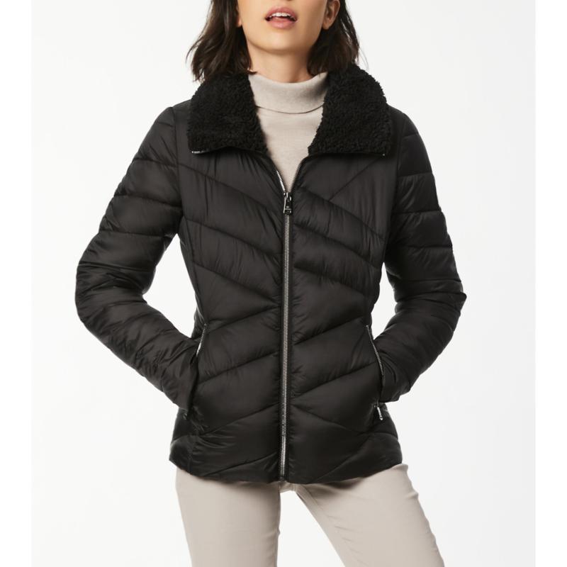 Bernardo EcoPlume Glossy Nylon Jacket with Sherpa Collar