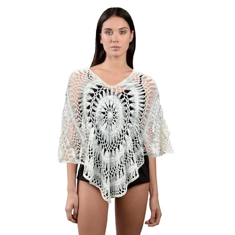 Bessie Cai Crochet Poncho Sweater