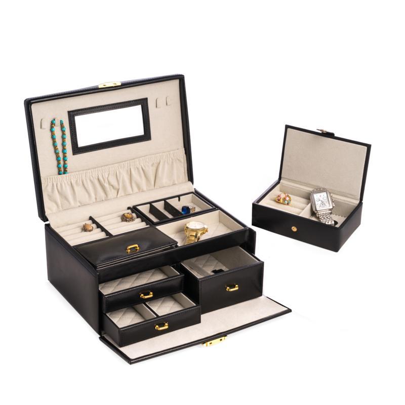 Bey-Berk Black Leather 2-Level Jewelry Box