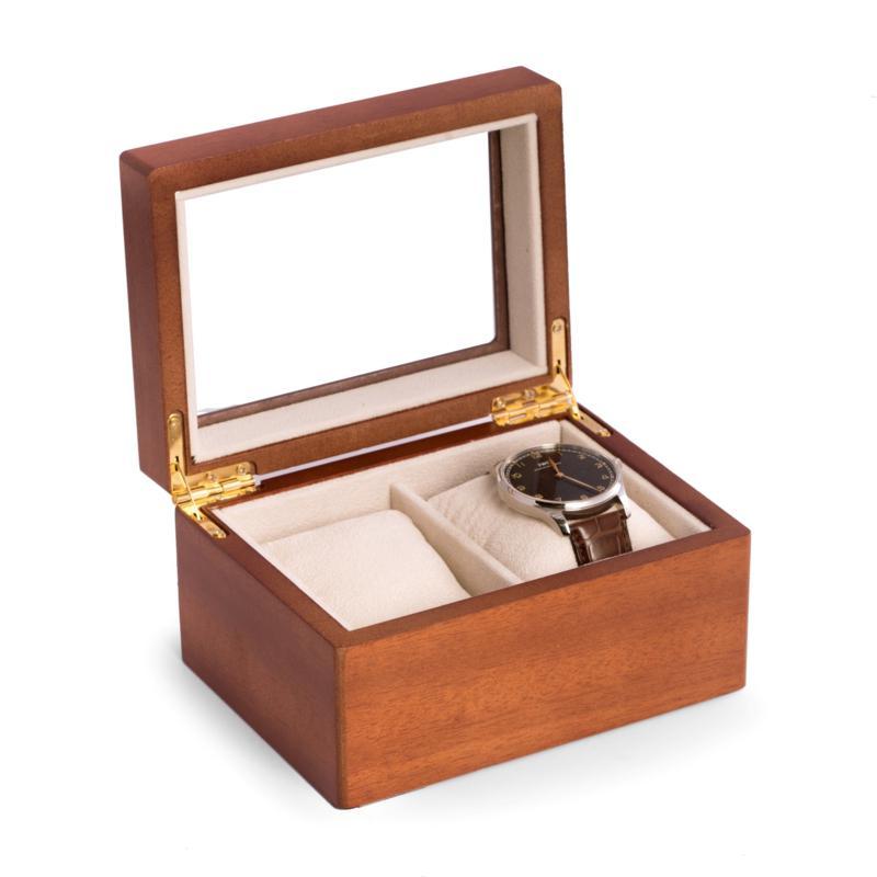Bey-Berk Cherry Wood 2-Watch Box