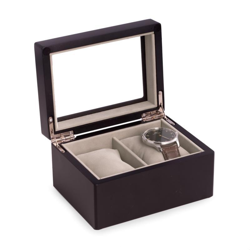 Bey-Berk Matte Black Wood 2-Watch Box