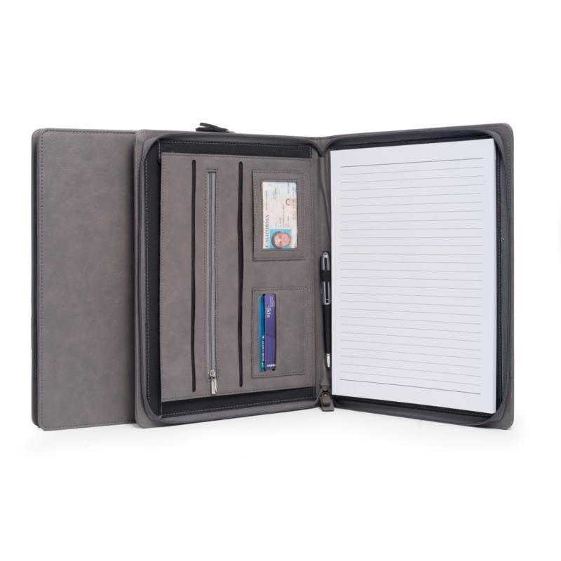 BeyBerk International Multi-Compartment Business Padfolio - Grey
