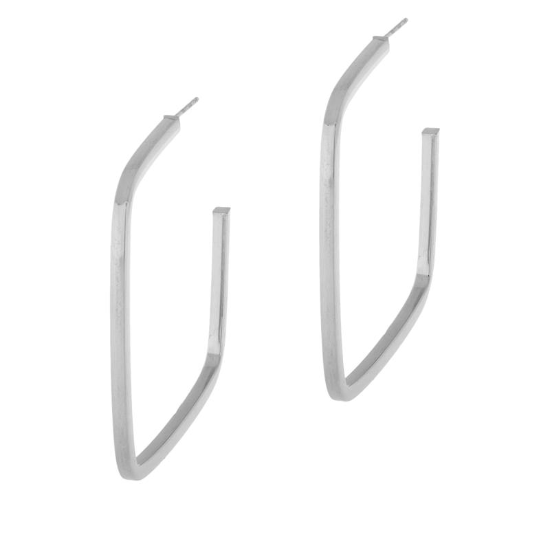 Bianca Milano Sterling Silver Square Polished Hoop Earrings