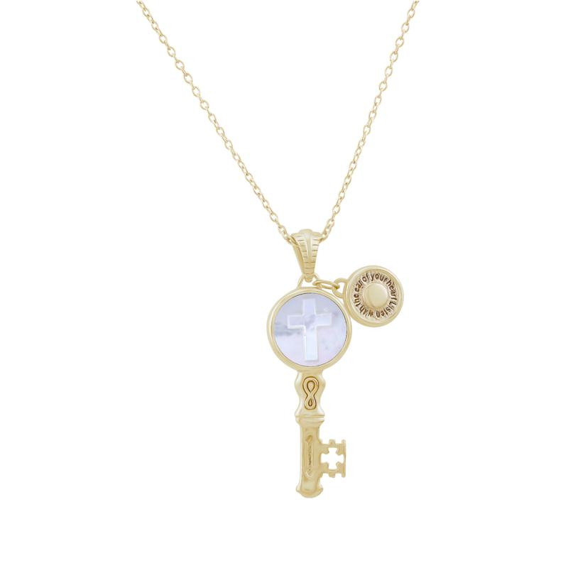 BlesT Gold-Plated Sterling Silver Carved Mother-of-Pearl Key Pendant