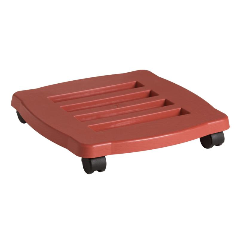 Bloem 15-inch Square Rolling Plant Caddy - Terra Cotta Color