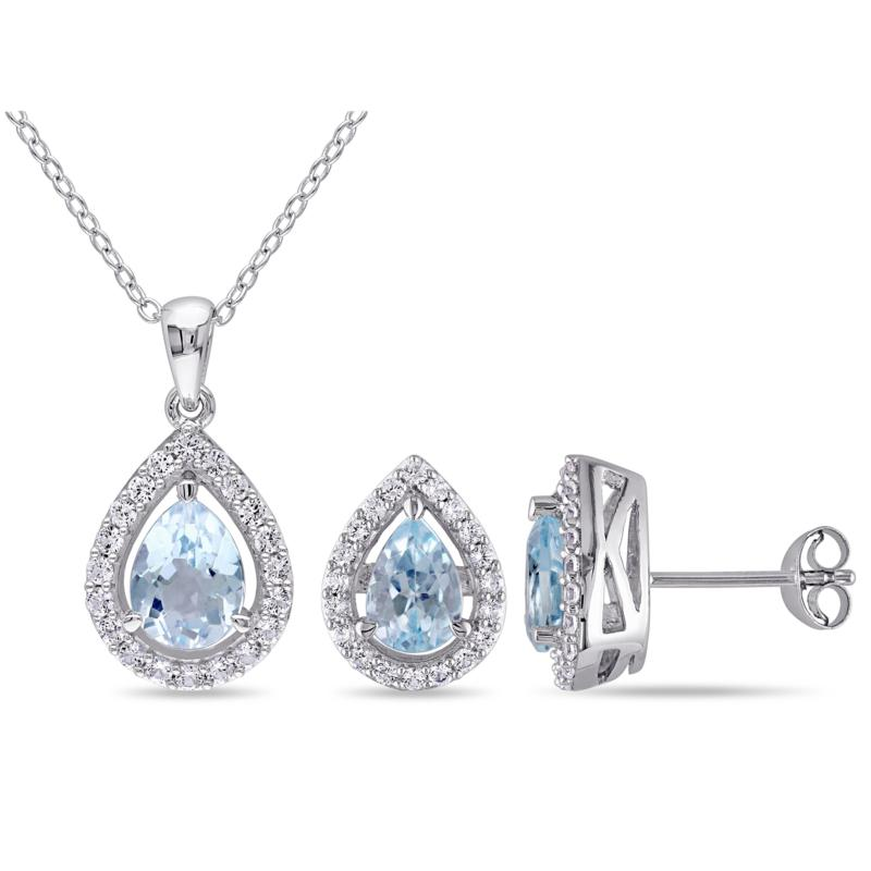 Blue Topaz and Created White Sapphire Teardrop Pendant and Earrings